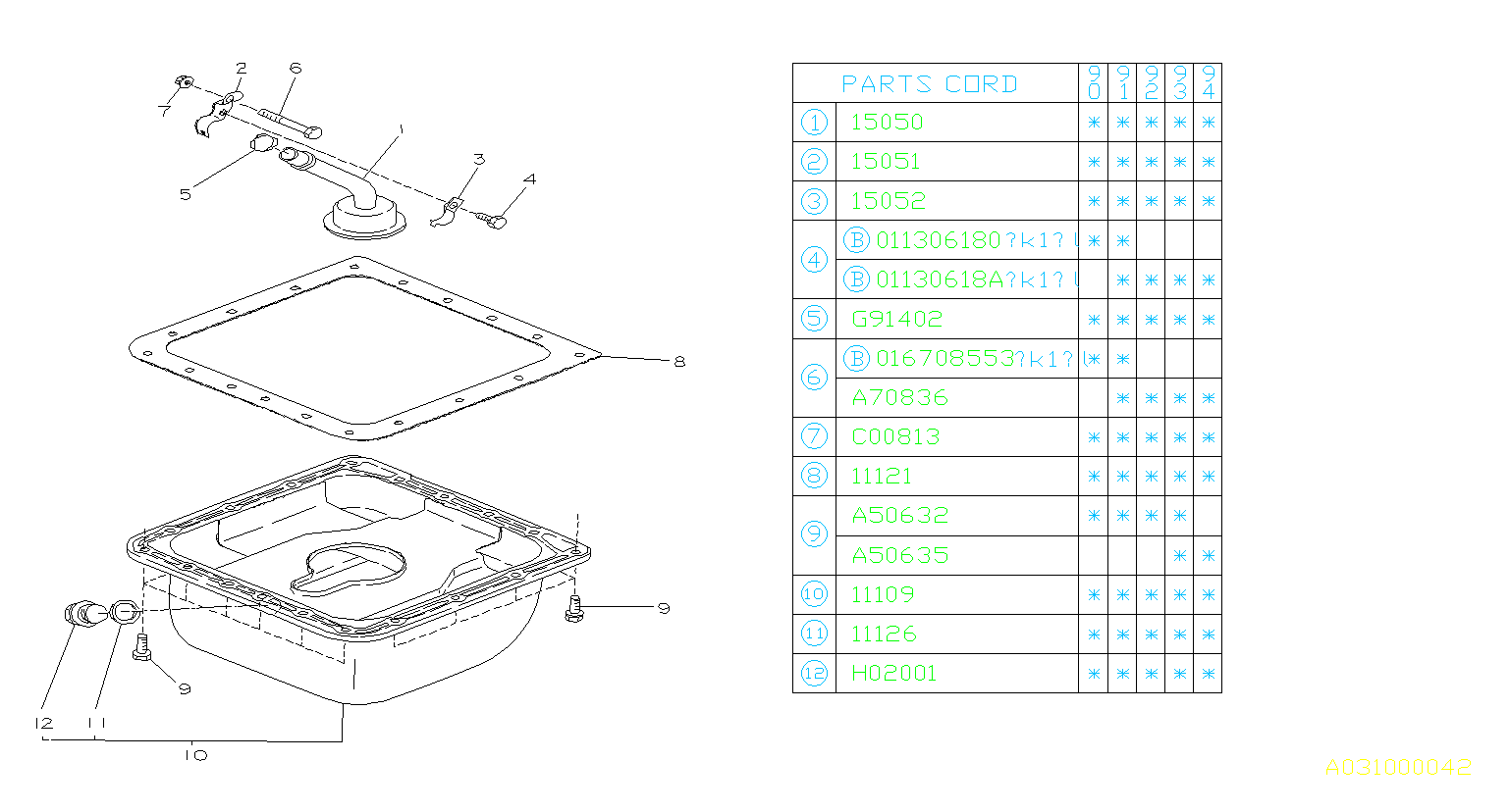 Subaru Loyale Engine Oil Pan Gasket -32  32- E   140975-