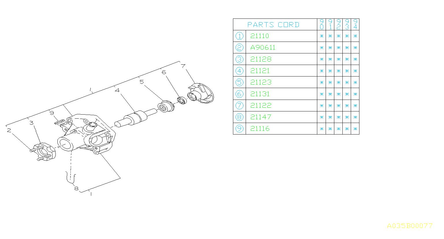 Subaru Loyale Plate Complete Water Pump  Engine  Cooling