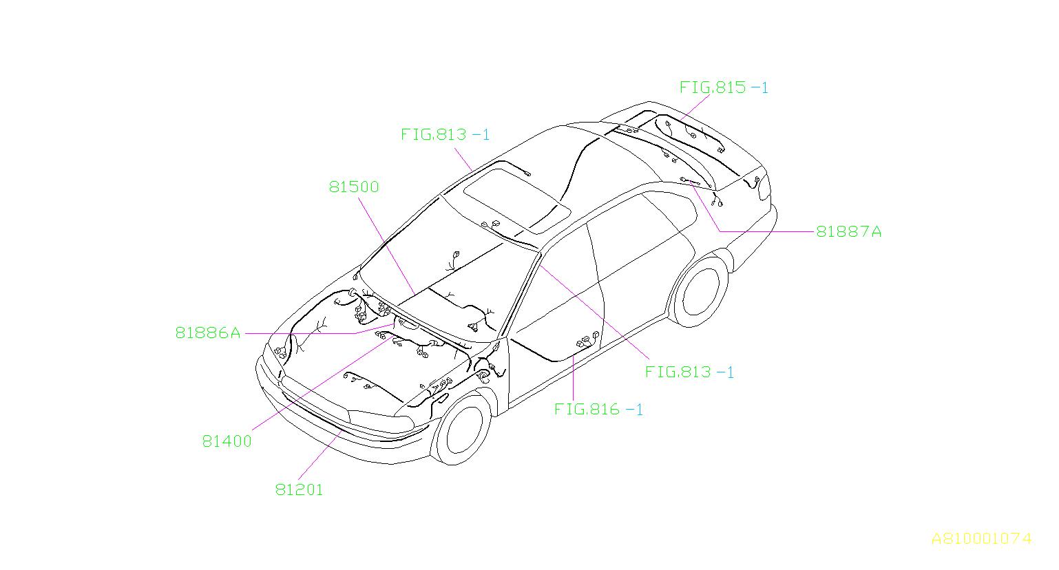 Subaru Legacy Wiring Harness   Left  Front   W A  C  W  O