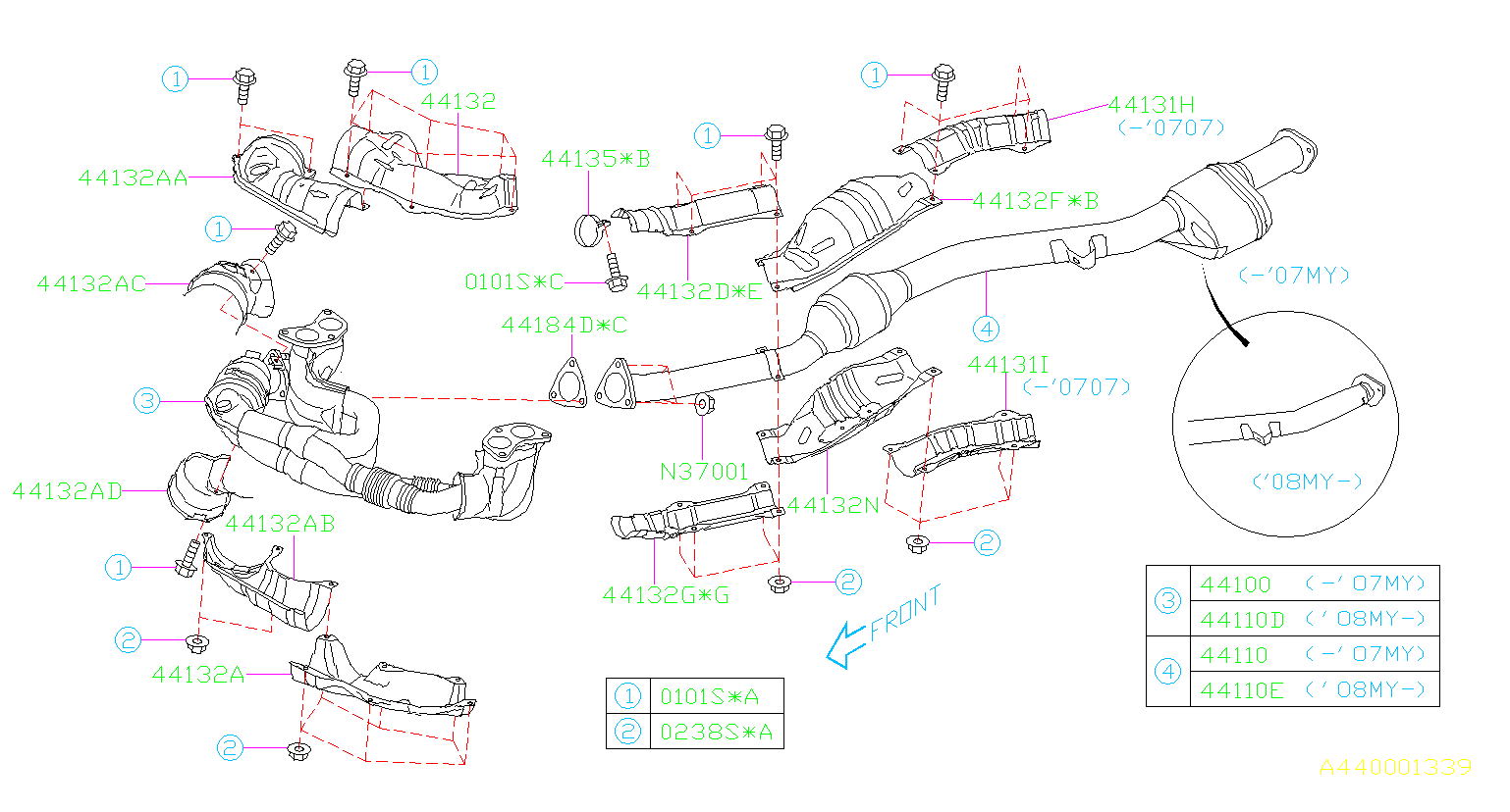 Subaru Legacy Catalytic Converter (Front) - 44620AB43A ...