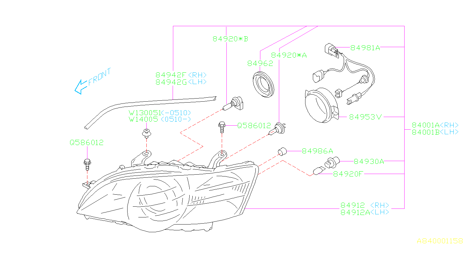 Subaru Legacy Headlight Wiring Harness