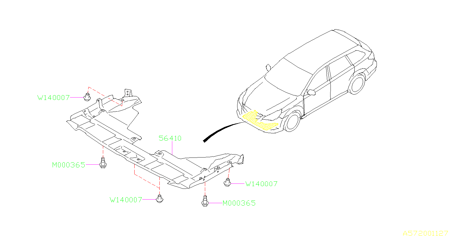 2014 Subaru Outback Radiator Support Splash Shield  Front