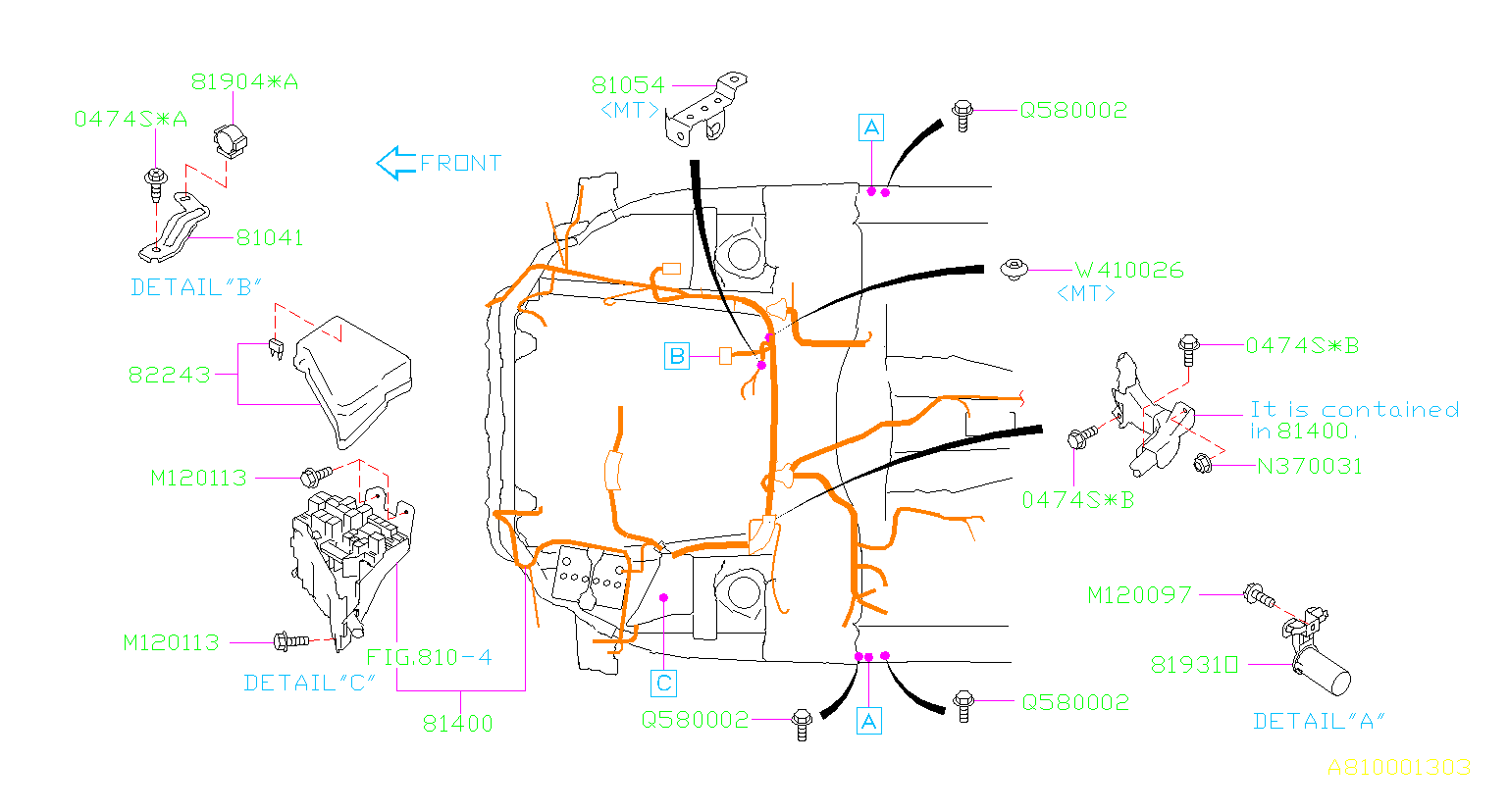Subaru Outback Engine Wiring Harness