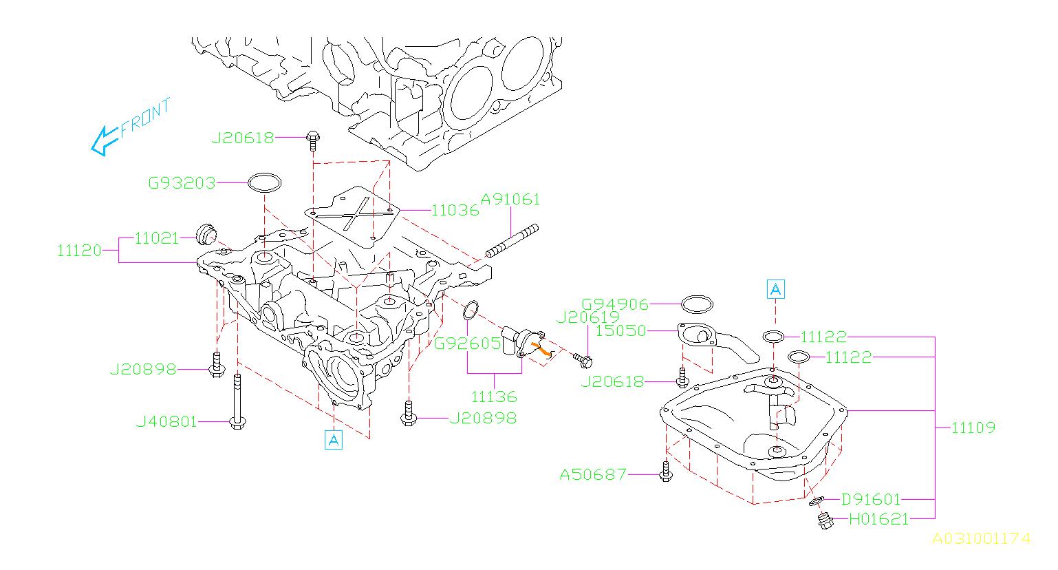 2017 Subaru Outback 2 5l Cvt Base Engine Oil Drain Plug