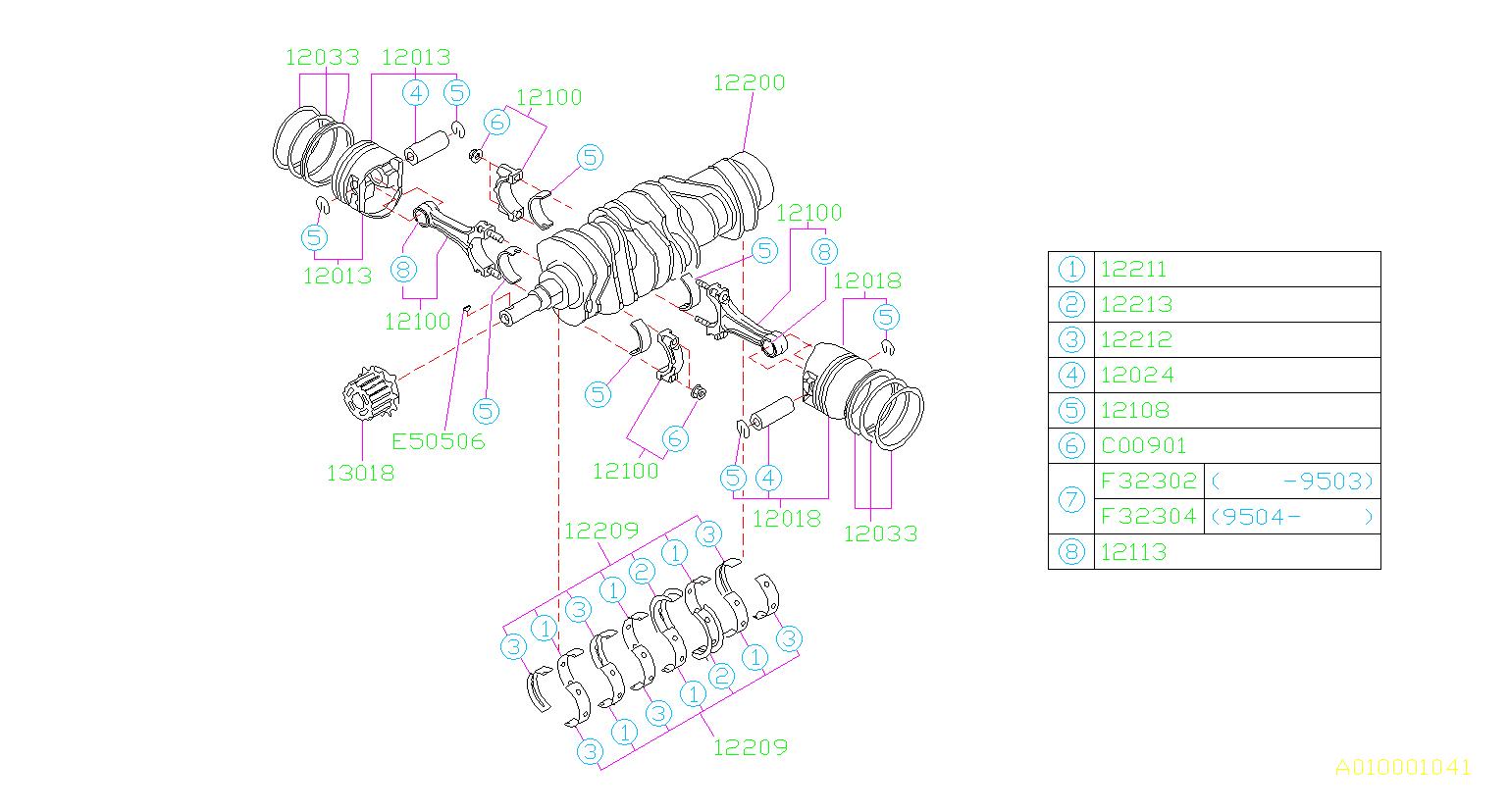 Subaru Svx Engine Crankshaft Main Bearing