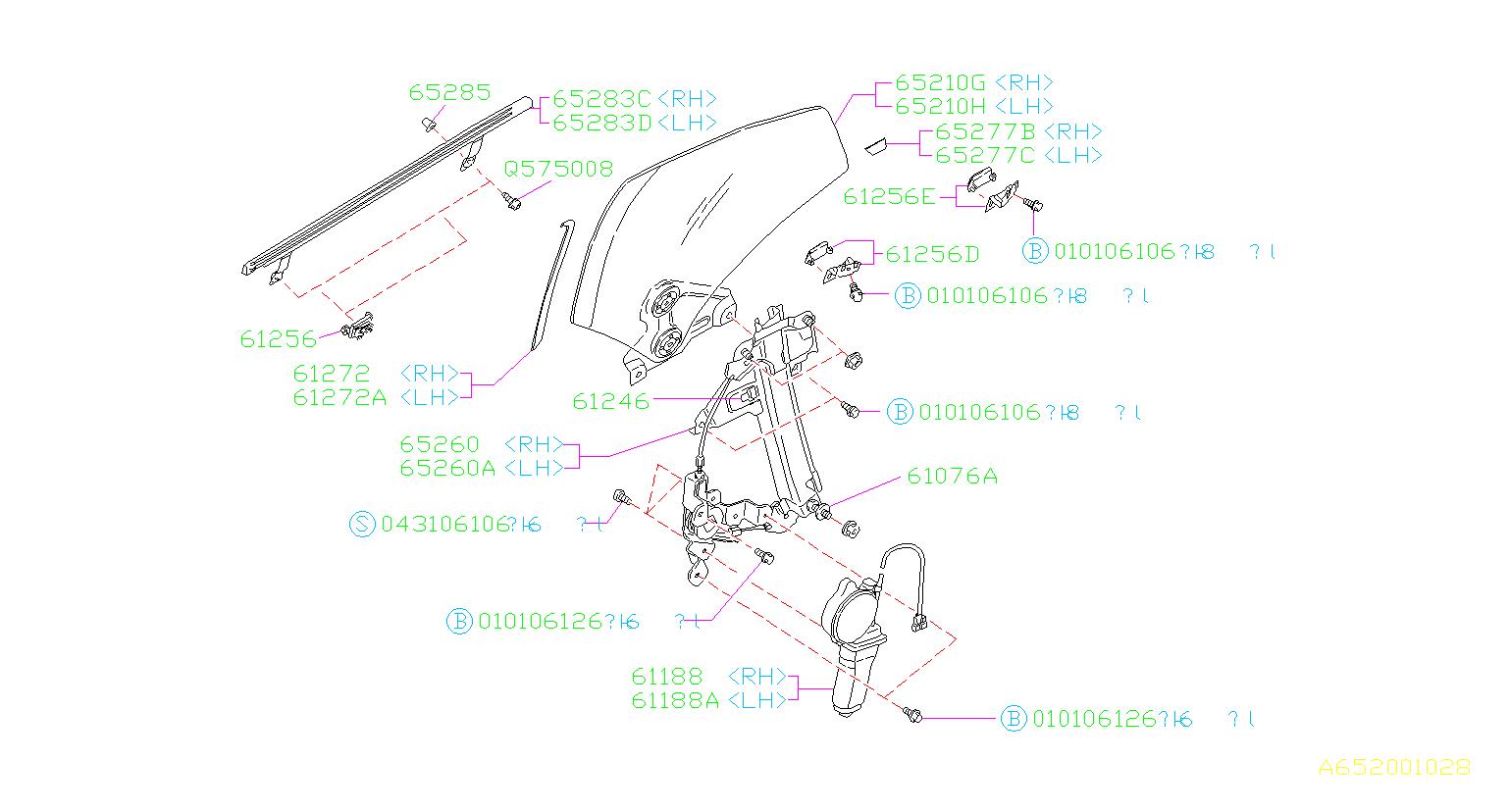 Subaru Svx Window Regulator  Adjust Bolt