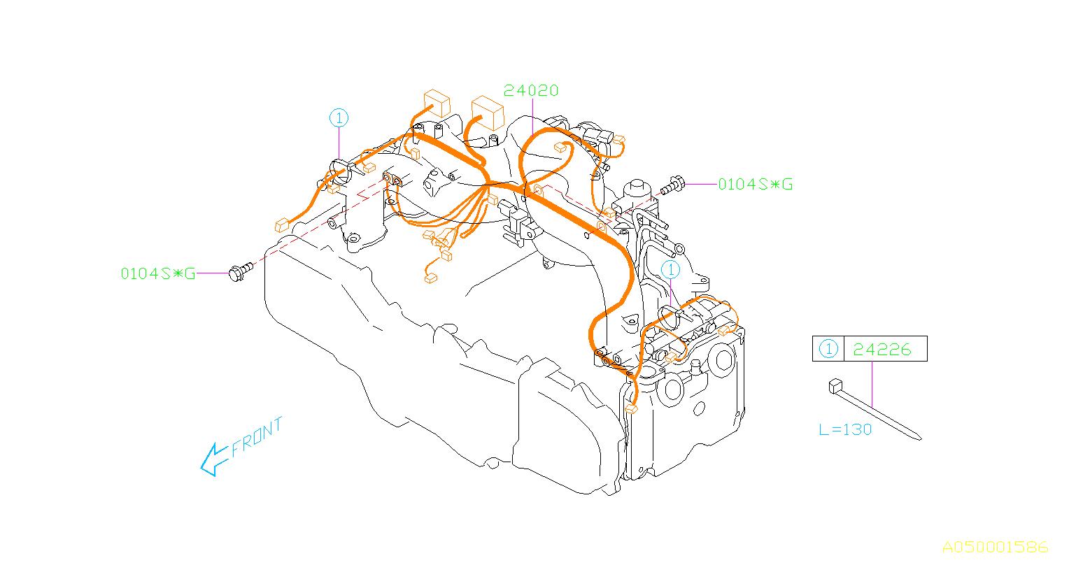 Subaru Impreza Engine Wiring Harness  Wiring Harness Used