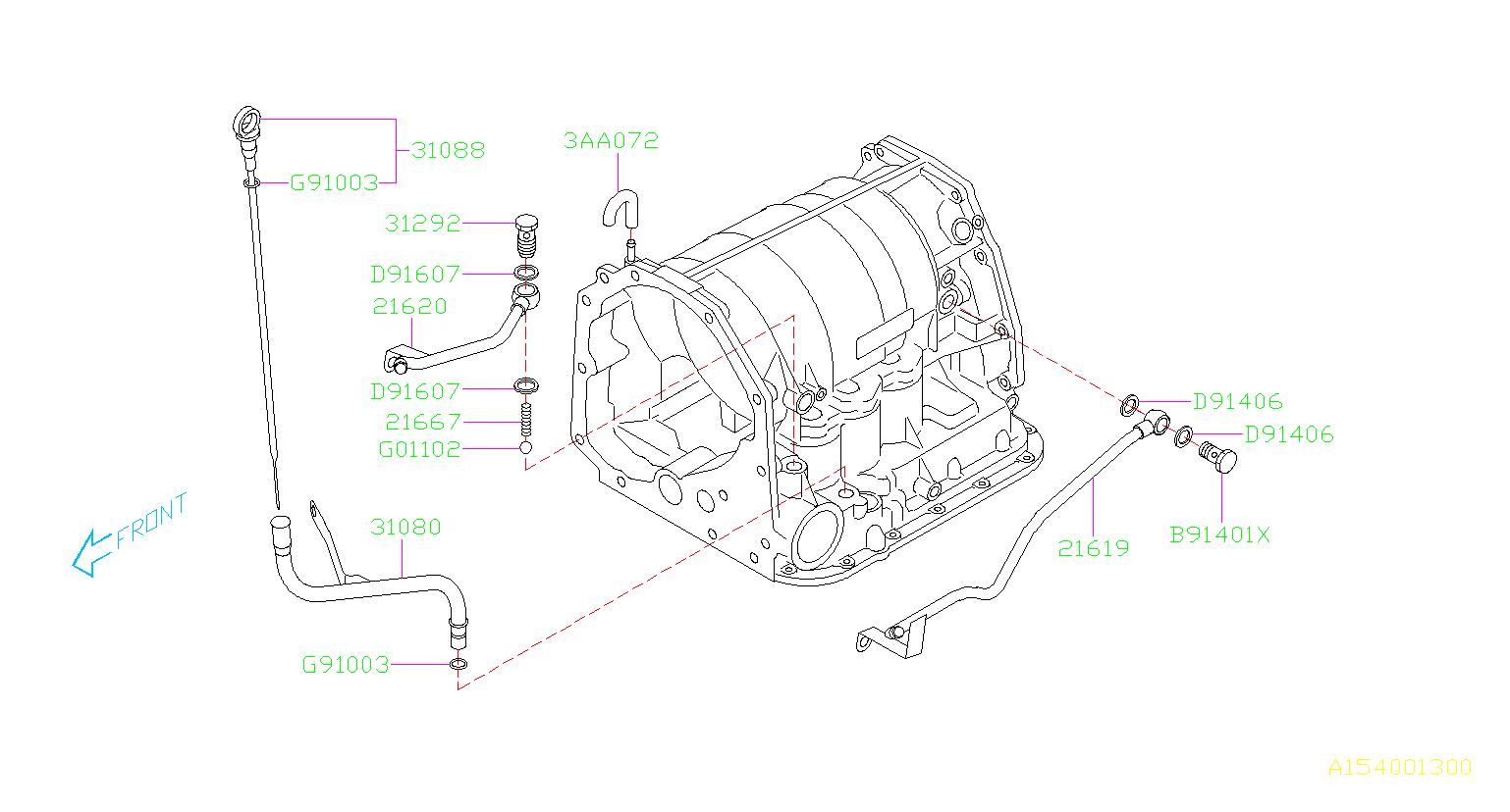 Subaru Impreza Automatic Transmission Dipstick  Gauge At Fluid Level