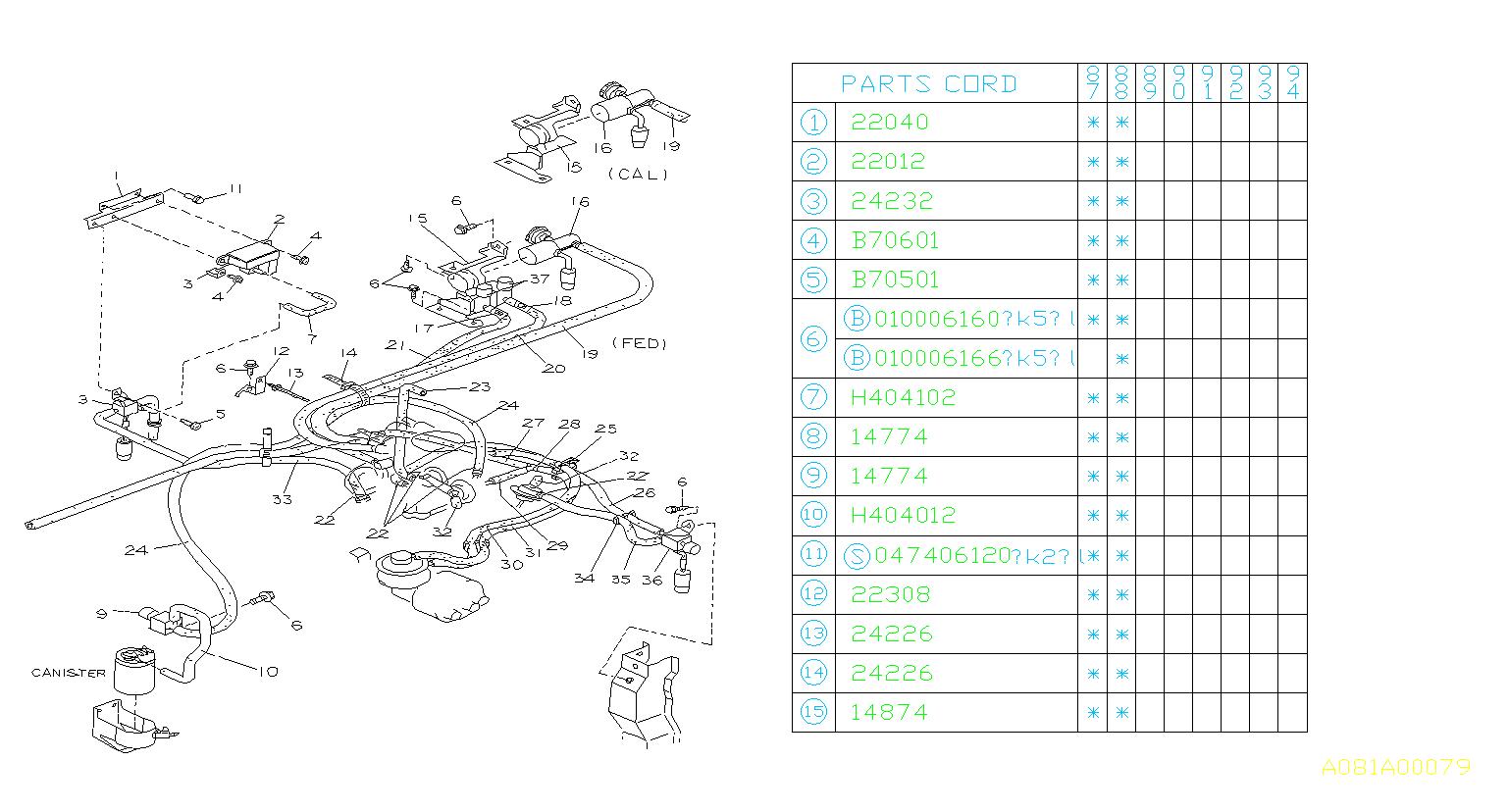 Subaru Justy Valve Solenoid  Control  Engine  Emissions