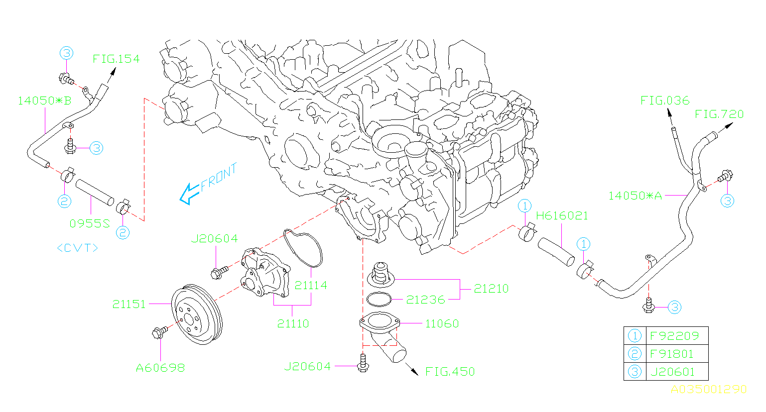 Subaru Forester Engine Coolant Hose - 09551D100 ...