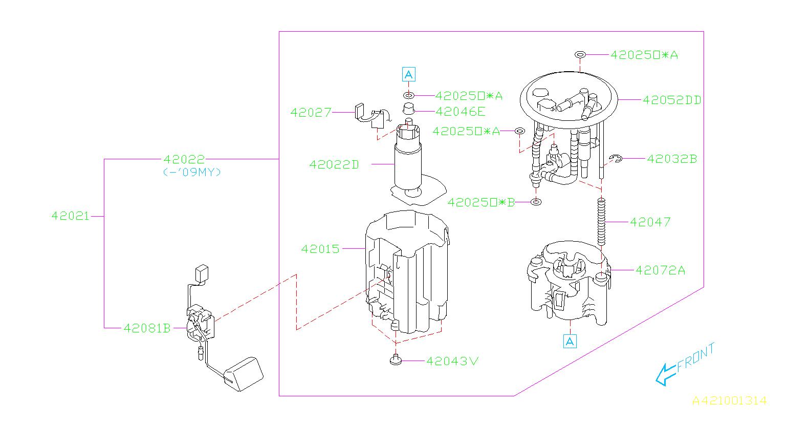 Subaru Tribeca Spring Modul  Fuel  Tank  Pump  Engine  Cooling