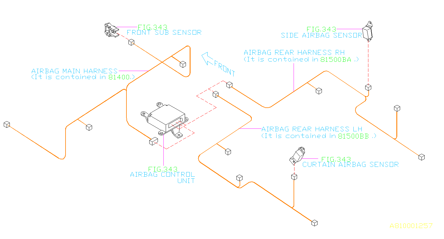 Subaru Tribeca Wiring Harness   Left  Rear   Main